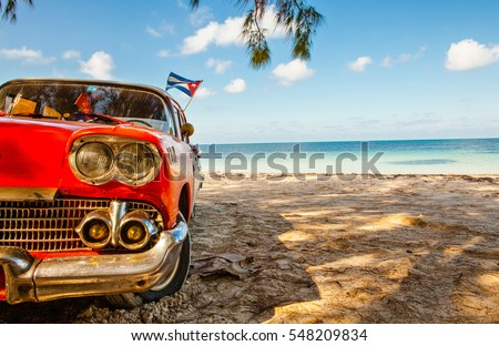 American classic car on the beach Cayo Jutias, Province Pinar del Rio, Cuba
