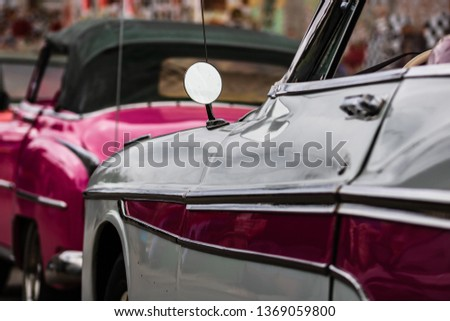 American classic cars parked on the streets of Havana, Cuba stock photo