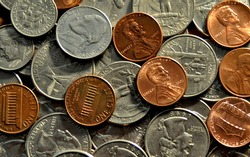 American Coins from Above Background
