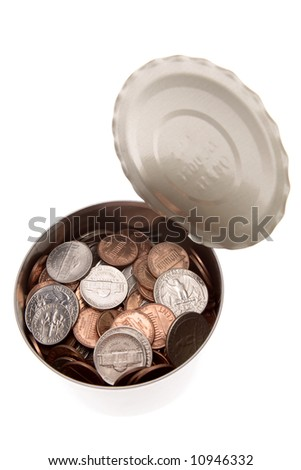 American coins in tin closeup over white