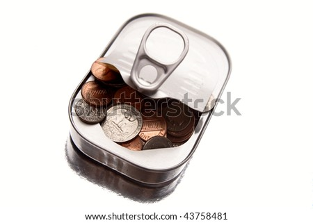 American coins inside tin