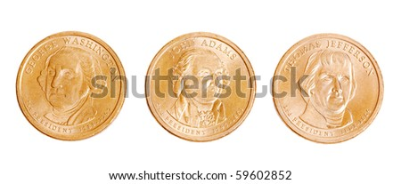 american coins with presidents on white background