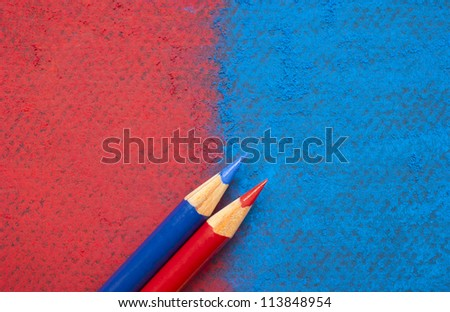 American colors. Will it be red or blue? Republican or Democrat? You choose. Vote with your best sharpened pencils. Presidential election concept. Pastel drawing background. Copy space.