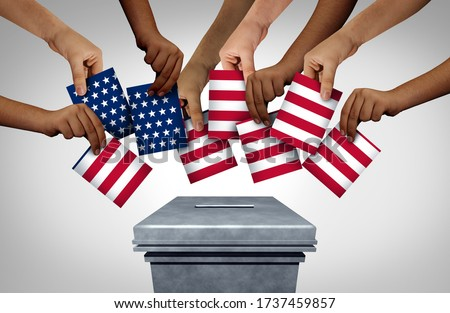 American community vote and US voting diversity concept and diverse hands casting United States ballots at a polling station as a USA democratic right in a democracy with 3D illustration elements.