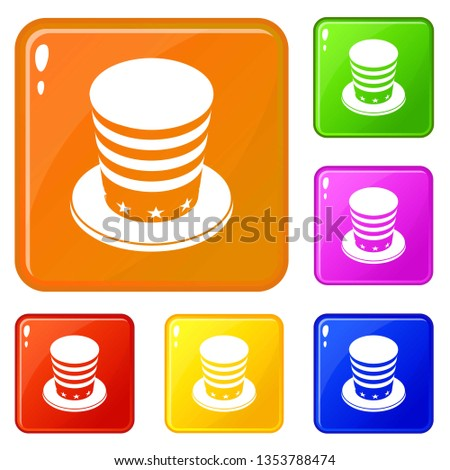 American conic hat icons set collection 6 color isolated on white background