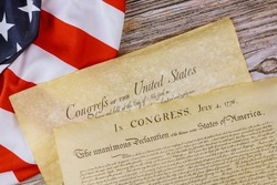 American constitution of vintage parchment the document detail the United States Declaration of Independence with 4th july 1776
