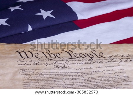 American Constitution with US Flag #305852570