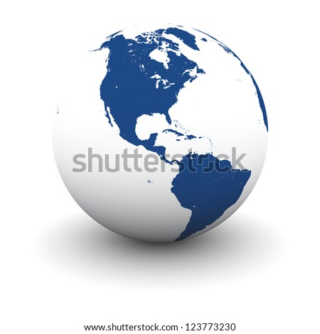 American continent on model of Earth isolated on white background. Elements of this image furnished by NASA