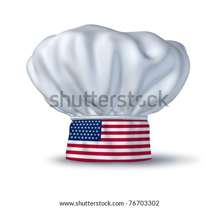 American cooking symbol represented by a chef hat with the flag of the U.S.A isolated on white.