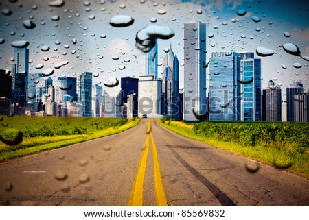 American Country Road with City on the Horizon