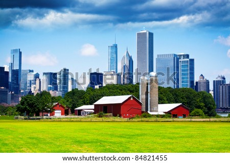 American Country with Blurred Big City in Background