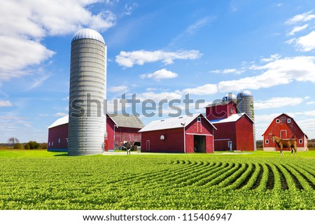 American Countryside Red Farm With Blue Sky #115406947