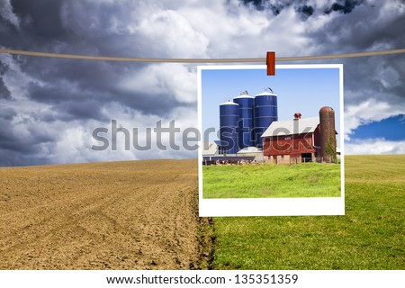 American Countryside  With Cloudy Sky