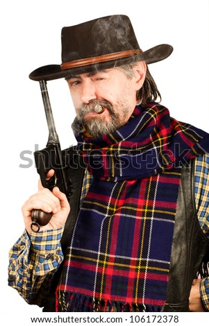 american cowboy with revolver, smoking cigar on white background