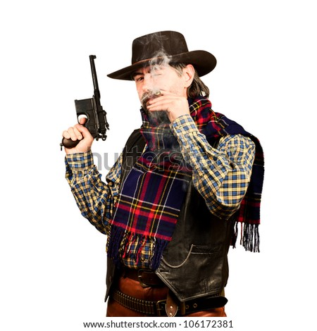 american cowboy with revolver, smoking cigar on white square background - stock photo