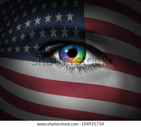 American culture and a symbol of military heroes and the patriotic brave rescue first responders from the Unites States of America with a close up of a human eye.