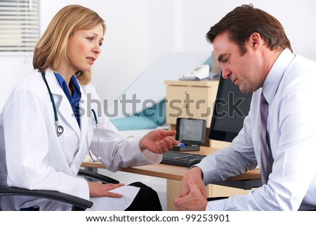 American doctor talking to depressed businessman