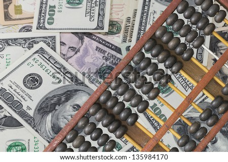 American dollar and abacus, conceptual of making business with chinese