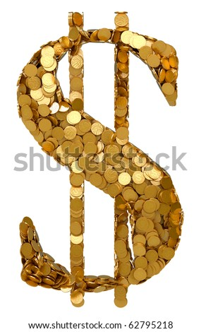 American Dollar Currency symbol shaped with coins. Isolated on white. Other symbols are in my portfolio