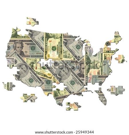 American dollar Map jigsaw with missing pieces illustration