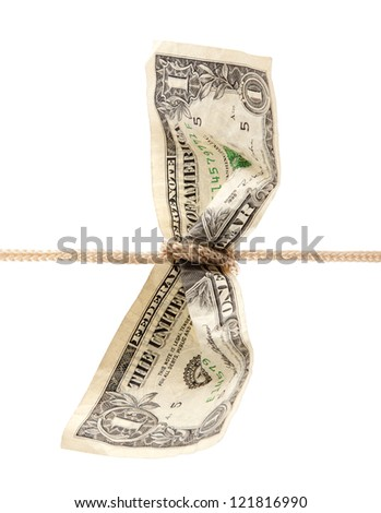 American dollar tied in twine with clipping path