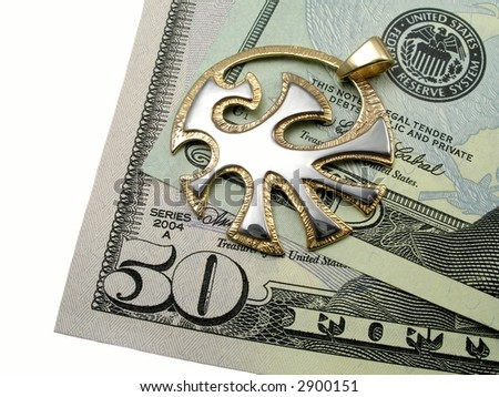 American dollars and golden jewelry