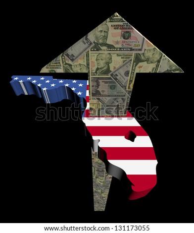 American dollars arrow and Florida map flag illustration