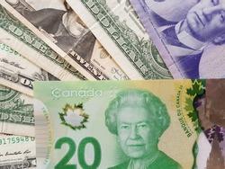 American dollars, Canadian dollars, Queen Elizabeth II, Exchange, Dollars closeup