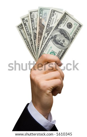 American dollars in a hand (contains clipping path)