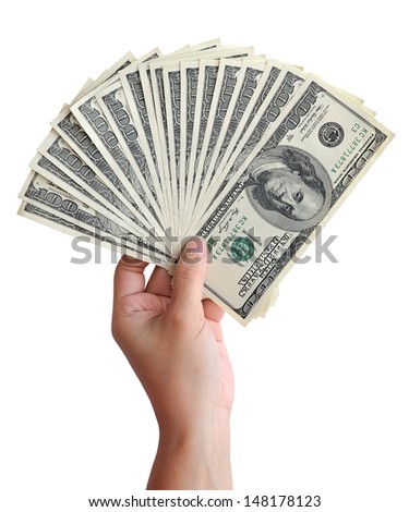 American dollars in hand isolated on white background. Clipping path included.