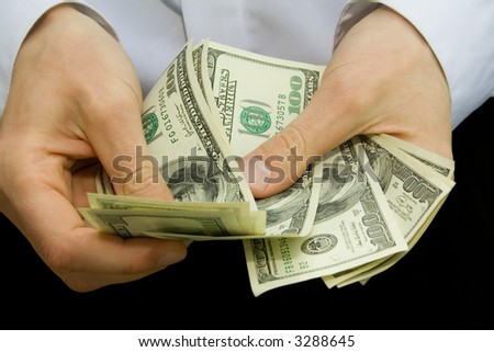 american dollars in the hands