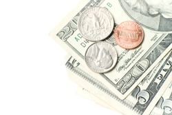American dollars on white background.
