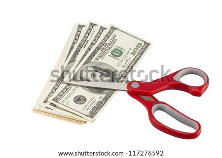 american dollars with scissors (with clipping path) - stock photo