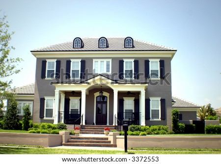 American Dream Home With Space For Text Stock Photo