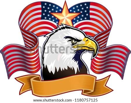 American eagle and USA flag