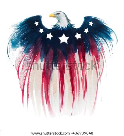 american eagle watercolor