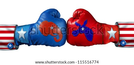 American election campaign fight as Republican Versus Democrat as two boxing gloves with the elephant and donkey symbol stitched fighting for the vote of the United states for an election win. - stock photo