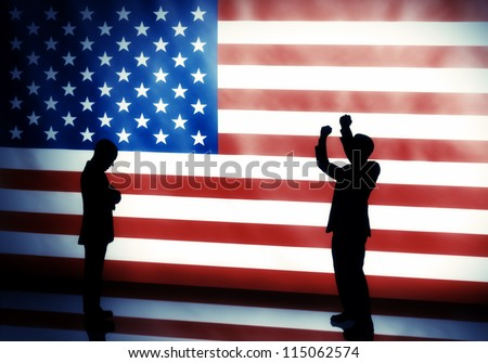 American elections concept with two human silhouettes posing on flag background