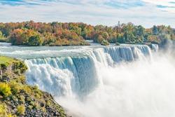 American Falls at Niagara river in autumn sunny day