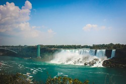 American Falls on Canada side with clear sky. NiagaraFalls, Canada