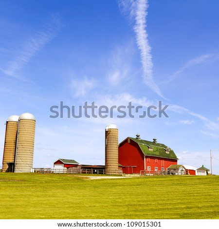 American Farm in hot summer day