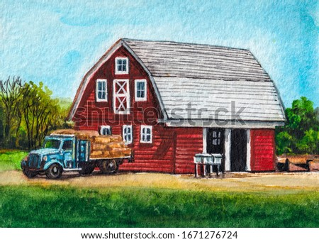 American farm. Red barn and truck. Country landscape. Watercolor painting.