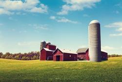 American Farmland With Blue Cloudy Sky