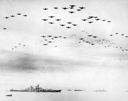 American fighter fly in formation over the USS MISSOURI during surrender ceremonies. Tokyo Bay, Japan. Sept. 2, 1945. World War 2.