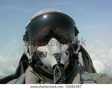 American Fighter Pilot in Flight
