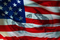 American financial system. American flag and us dollar. American currency. U.S. economy. World economy. Economy of different countries.