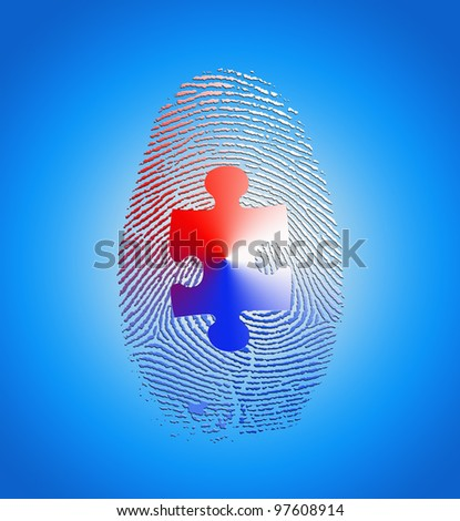 American fingerprint with puzzle