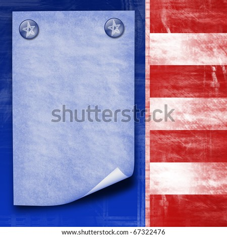 american flag abstract design with paper sheet for company information