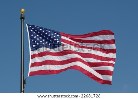 stock photo : American flag against blue sky.  See more flags in my...