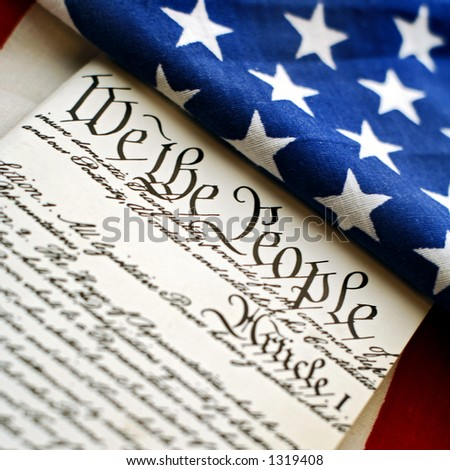 american flag and constitution